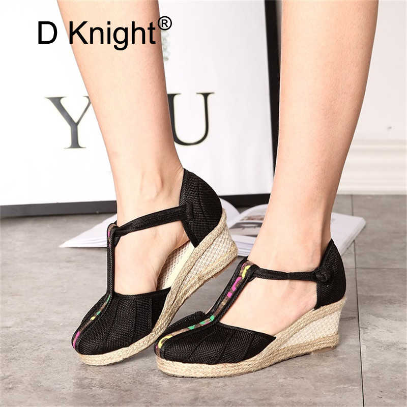95d1cef31c Chinease Handmade Summer Women Linen Close Toe Wedge Sandals Ankle T-Strap  Mid Heel Lady