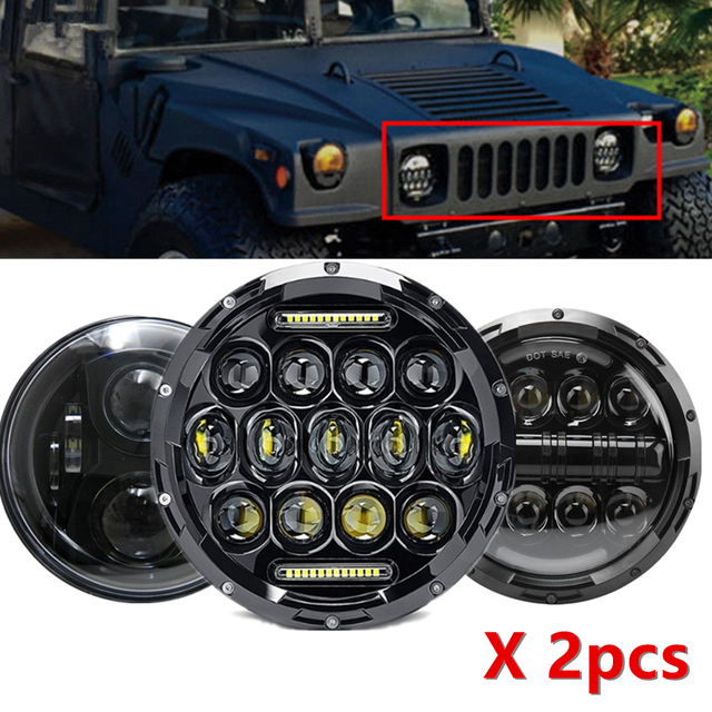 """7"""" Headlight For Jeep Wrangler TJ JK 7 Inch Round LED Projector Headlights For Classic Mini Austin Rover For Hummer H1 H2"""