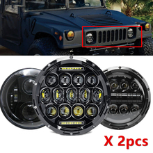 """7 """"ไฟหน้าสำหรับ JEEP Wrangler TJ JK 7 นิ้วรอบไฟ LED โปรเจคเตอร์สำหรับ CLASSIC MINI Austin Rover สำหรับ hummer H1 H2"""