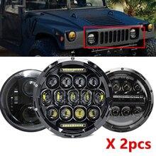 """7 """"jeep için far Wrangler TJ JK 7 inç yuvarlak led projektör farlar için klasik Mini Austin Rover Hummer H1 H2"""