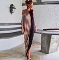 Vancol новый сексуальные женщины длинное платье твердые слэш шеи асимметрия Sleevele пят летом основные макси Vestidos Femininos