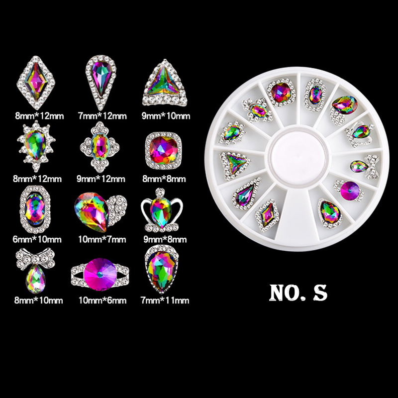 6 Styles Colorful AB Rhinestone Nail Art Decoration Heart Bow Tie Triangle Design Beauty DIY Nail Art Decorations LRV