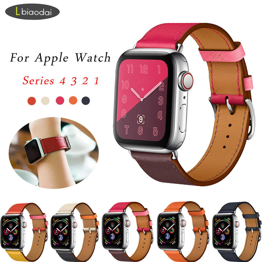 Leather strap for Apple watch 4 band 44mm 40mm correa apple watch 42mm 38 mm single tour bracelet watchband Iwatch series 4/3/2
