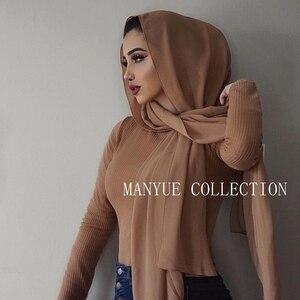 Image 2 - Di alta Qualità Delle Donne Pianura Bolla Chiffon Sciarpa del Hijab Lungo Georgette Sciarpa Scialli Hijab Musulmano Islamico Copricapi Avvolge Le Sciarpe