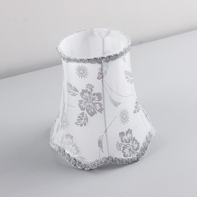 16cm Cool White Color And Silver Flowers Fabric Small Lampshade Handmade Wall Lamp Shades E27 Hole 4 2cm