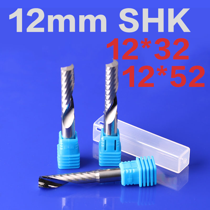 1pcs 12mm SHK One Flute End Mill Cutter Spiral Bit CNC Router Tool Single Flute acrylic carving frezer for 7 inch tablet lcd display wjws070087a fpc lcd screen module replacement 30 pin lwh 164 97 2 5mm