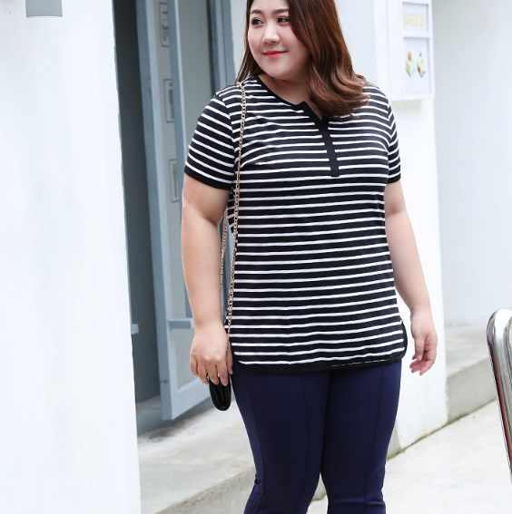 Feminina корейские Топы Мода 2019 летняя футболка Женская Повседневная Свободная полосатая футболка с коротким рукавом плюс размер женская футболка fw369