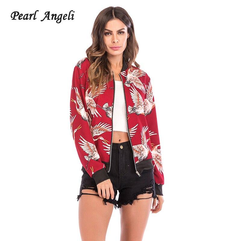 2018 Autumn Women Stand Collar Jacket Print Female Winter Loose Outerwear Long Sleeve Zipper Up Bomber Basic Jacket Ladies Coats