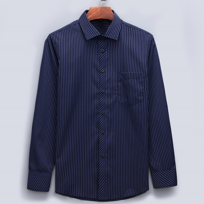 Plus Large Size 8XL 7XL 6XL 5XL 4XL Mens Business Casual Long Sleeved Shirt Classic Striped Male Social Dress Shirts 1