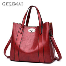 Shoulder Bags for Women Top-handle Bag Oil Wax Leather  Solid Color Simple Style Handbags Female Crossbody Bag Ladies Casual Sac
