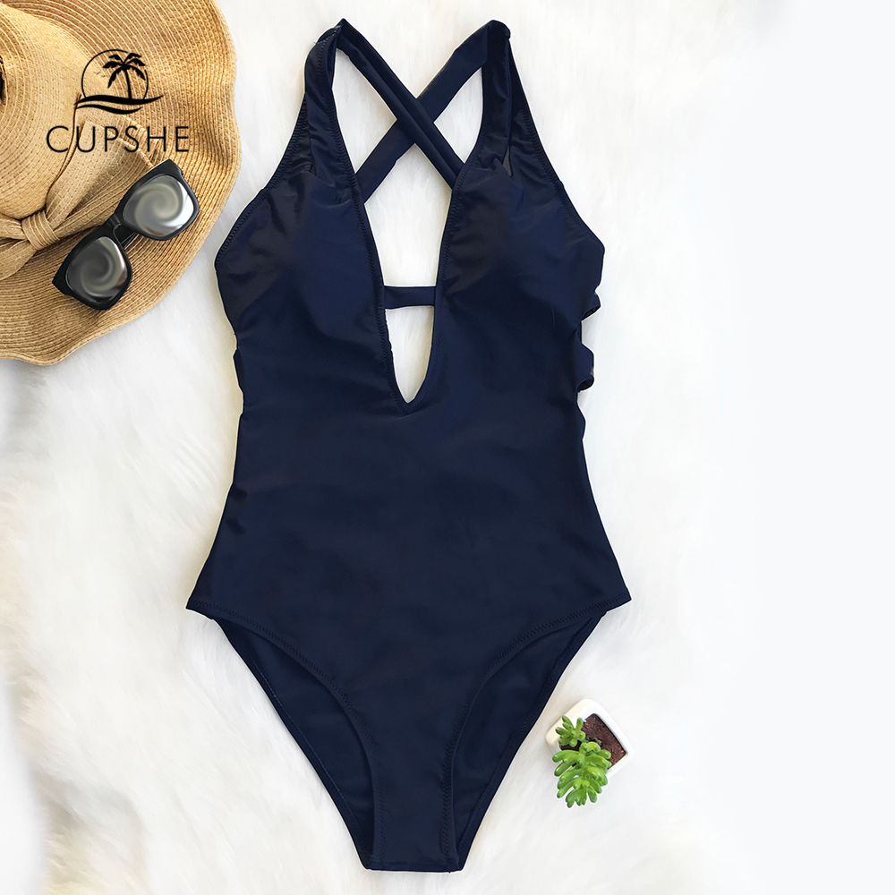 CUPSHE Dark Blue Cross Solid One-piece Swimsuit Women Deep V neck Backless Sexy Monokini 2018 X-back Bathing Suit Swimwear bandage vintage beach wear one piece swimsuit women backless trikini deep v neck monokini triquini sexy bathing suit page 6