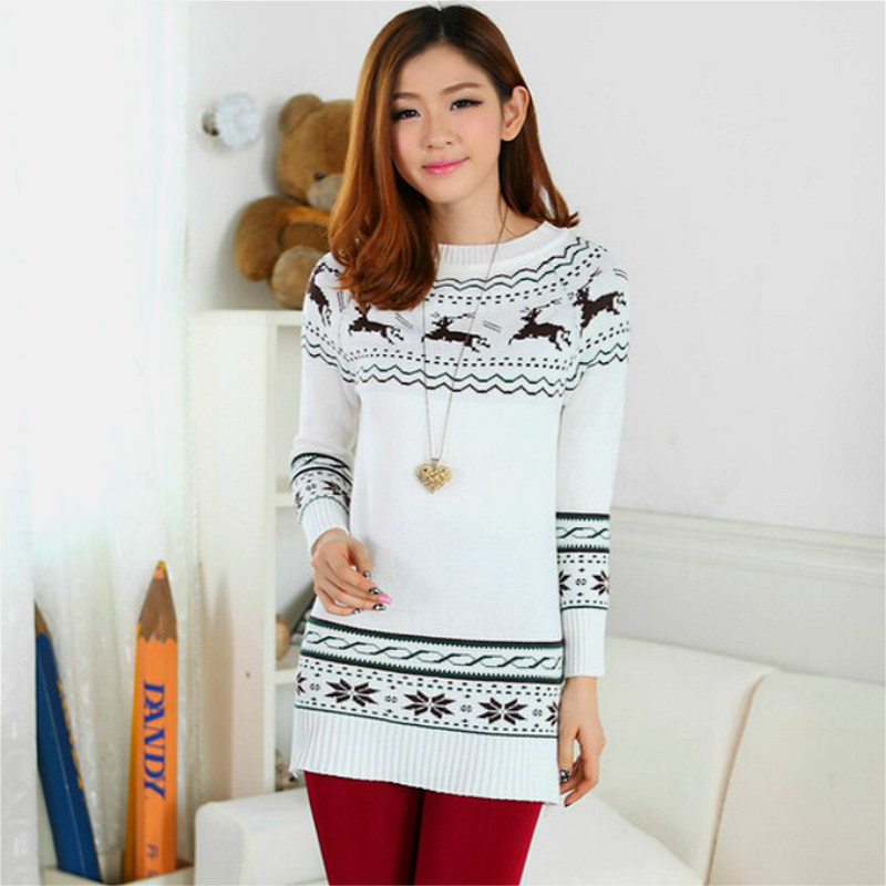5566d29fa6 2016 Deer Printing Knitted Pullover Sweater Women s Design Outerwear  Pullover Korean Style Ladies Sweater with deer zz94