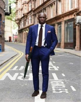 2018 Latest Coat Pants Designs Royal Blue Wedding Suits For Men Slim fit Custom Groom Prom Smoking 3 Piece Blazer Jacket + Pants