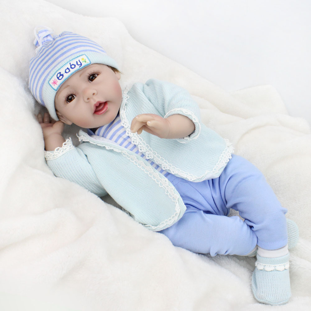 Bebe Reborn Baby Doll toys Rooted Brown Mohair newborn boy babies alive silicone doll toys for