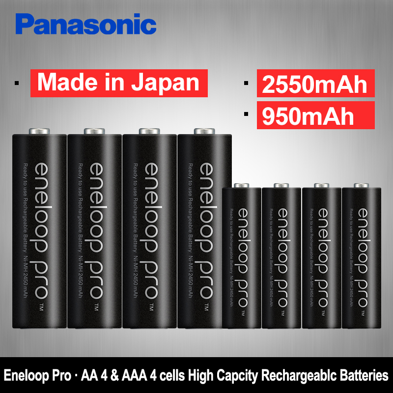 Panasonic 8pcs AA+AAA Precharge Ni-MH Rechargeable Battery 1.2V (aa 2550mAh & aaa 950mAh) Eneloop Batteries for Camera Flash аккумулятор aaa panasonic eneloop 750 mah ni mh 4 штуки bk 4mccec4be с кейсом