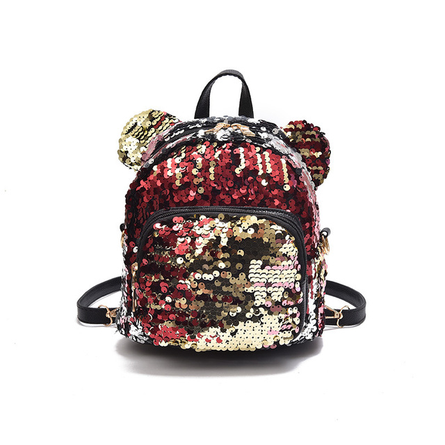 75e1593a89 Women Bling Sequins Backpack Cute Mickey Ears Double Shoulder Bag Women  Mini Backpacks Children Girls Travel Bag Mochila 2018