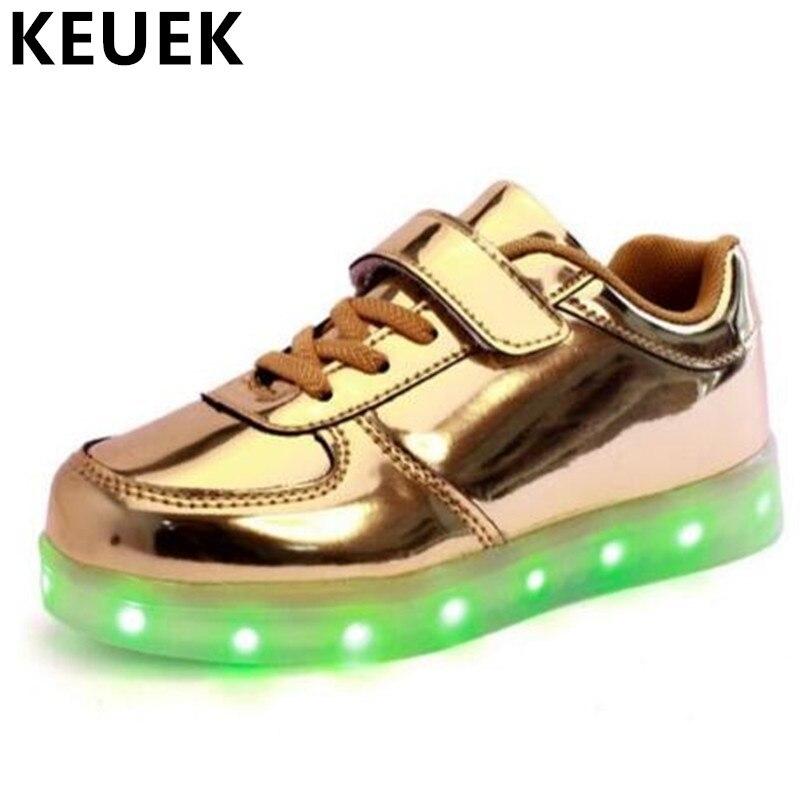 все цены на NEW Fashion Luminous Sneakers Children Shoes Boys Girls USB Charging Led Light Shoes Student Spring/Autumn Lighted Flats Kids 03 онлайн