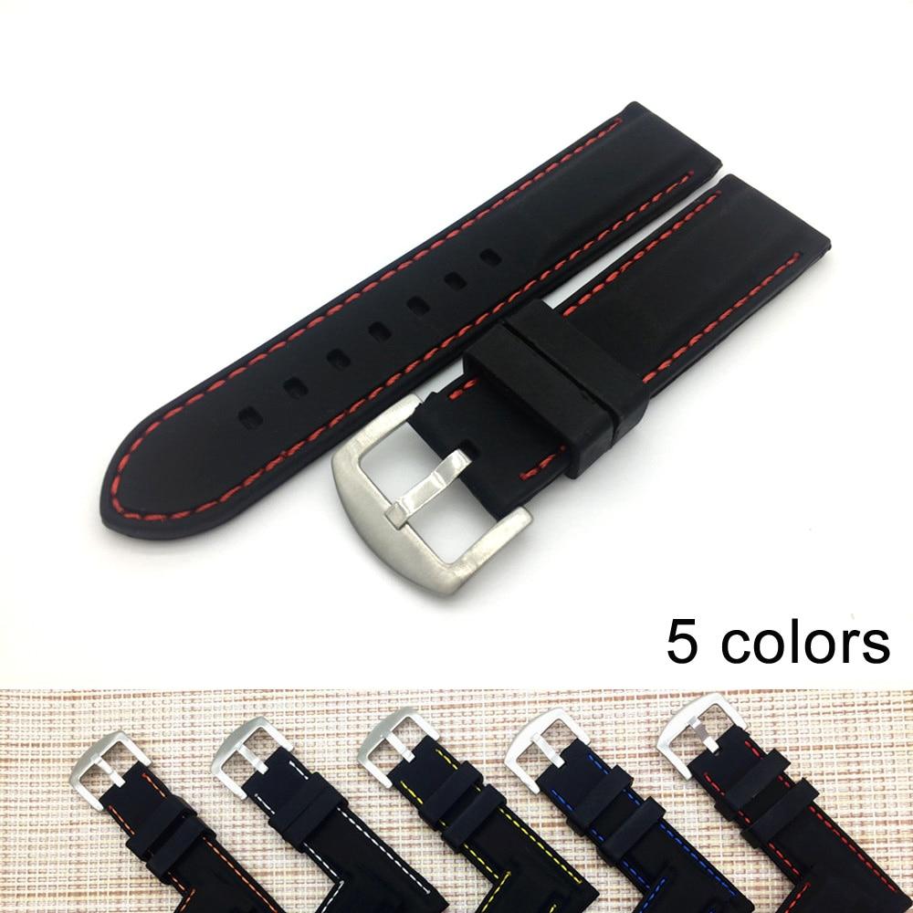 22/24 Mm New Fashion Rubber Watch Strap Durable Souple Sport Noir Caoutchouc De Silicone Bande De Montre Bracelet Watch Band