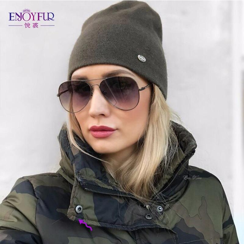 ENJOYFUR Wool Knitted Winter Hat Women Warm Gravity Falls Cap Black Youth Cap 2018 Thick Hats For Girls Female   Skullies     Beanies