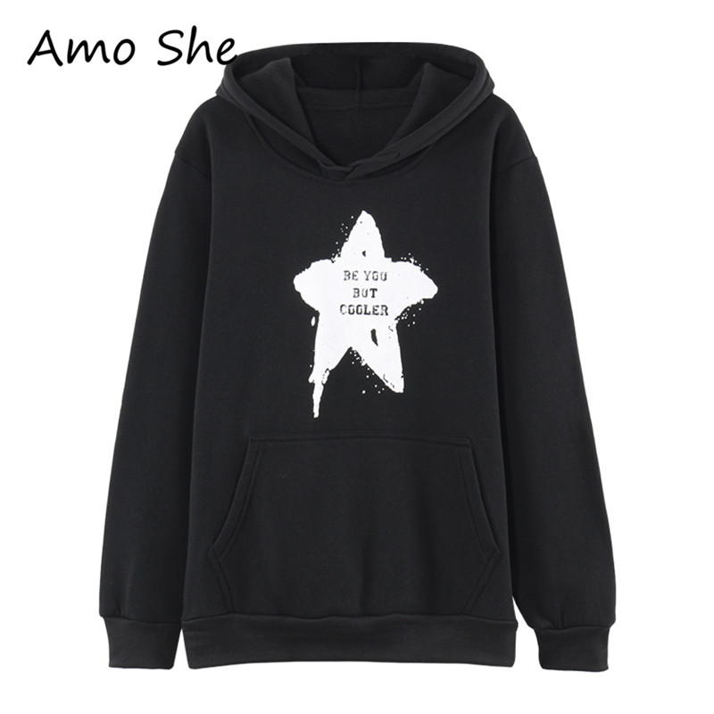 Amo She Star Letter Print Hoodies Long Sleeve Pocket Fleece Hooded Sweatshirt Women Men Black Autumn Warm Pullovers Streetwear