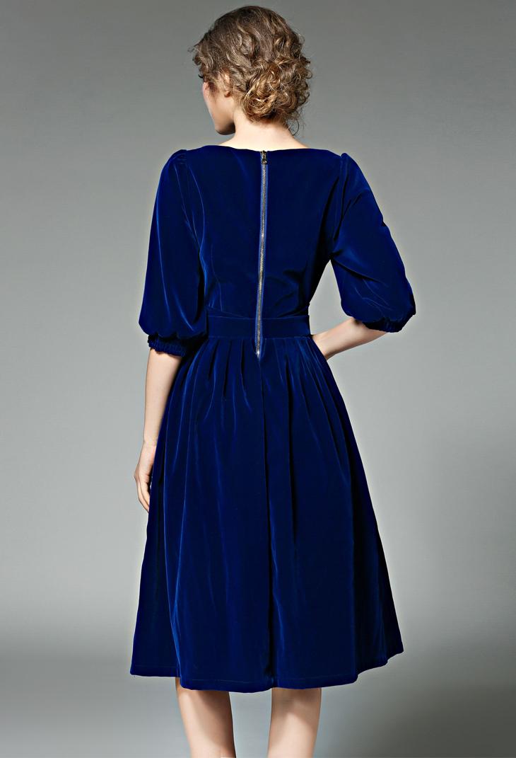 f5ffa7656e2 Zarachiel Blue Red Velvet Dress Winter Dresses Women 2019 Vestidos ...