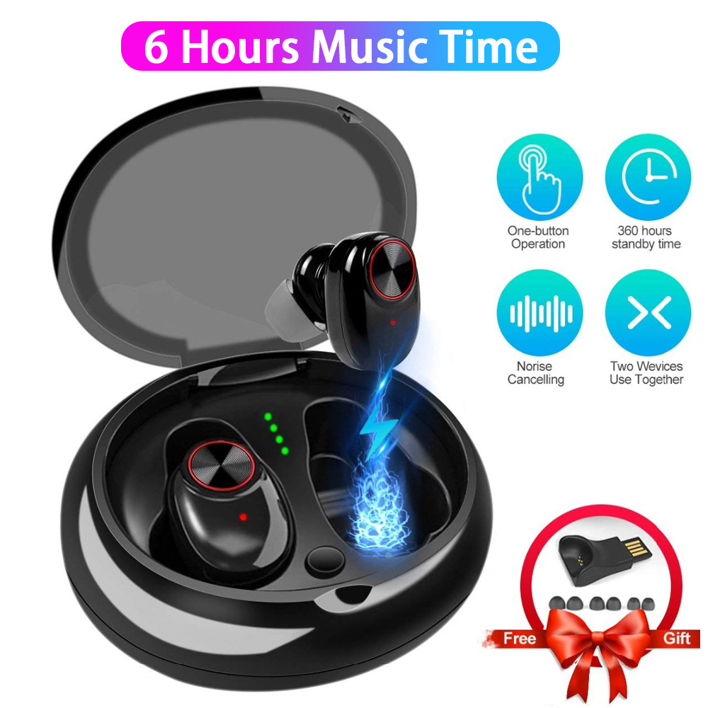 6Hrs Working <font><b>Bluetooth</b></font> Music Earphone Stereo Hifi Sound TWS Wireless Earbuds V5 <font><b>Bluetooth</b></font> <font><b>Headphones</b></font> with <font><b>Bluetooth</b></font> 5.0 head set image