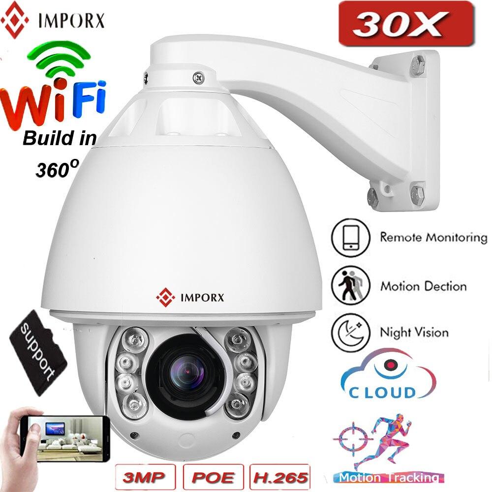Caméra IP IMPORX PTZ Zoom optique 30X caméra CCTV 3MP caméra de sécurité HD caméra de surveillance à domicile suivi automatique et essuie-glace intégré extérieur