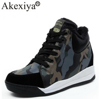 Akexiya Running Shoes Women Winter Warm Plush Outdoor Sport Woman Ankle Boots Height Increasing Camouflage Athletic Sneakers