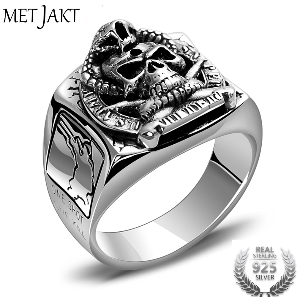 MetJakt Punk Rock Skull Ring & US Army Soldier Sniper Ring Solid Real 925 Sterling Silver for Men Vintage Thai Silver Jewelry