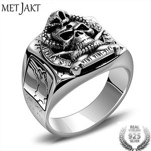 Metjakt Skull-Ring Silver Jewelry 925-Sterling-Silver Vintage Solid Real Punk Men