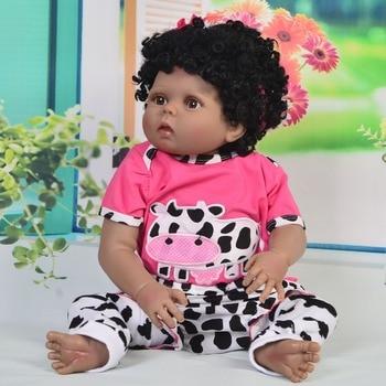 22inch silicone vinyl reborn baby black dolls alive African girl ethnic baby dolls bebe gift reborn bonecas child toy dolls