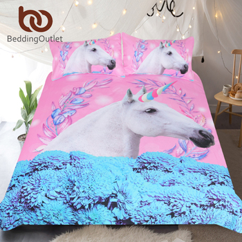 BeddingOutlet ユニコーン寝具セットピンクと青の布団カバーセット花 3 のベッドカバーの女王大人の子供の馬寝具