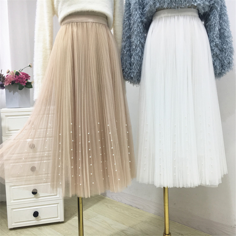 HTB1pRhWPhTpK1RjSZFKq6y2wXXaA - New Spring Summer Skirts Womens Beading Mesh Tulle Skirt Women Elastic High Waist A Line Mid Calf Midi Long Pleated Skirt