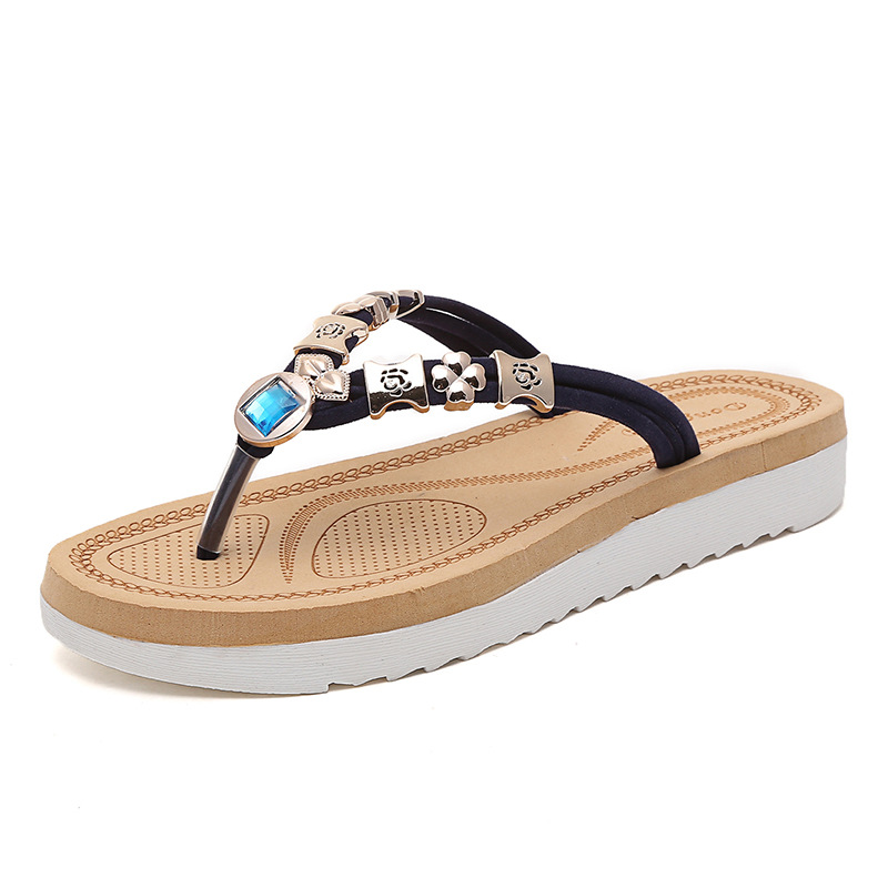 Summer Women Slippers Bohemia Style Comfortable Flip Flops Beaded Good  Quality Cool Beach Vacation Elastic Band Flat With Shoes-in Flip Flops from Shoes  on ... 781ef8944ee7