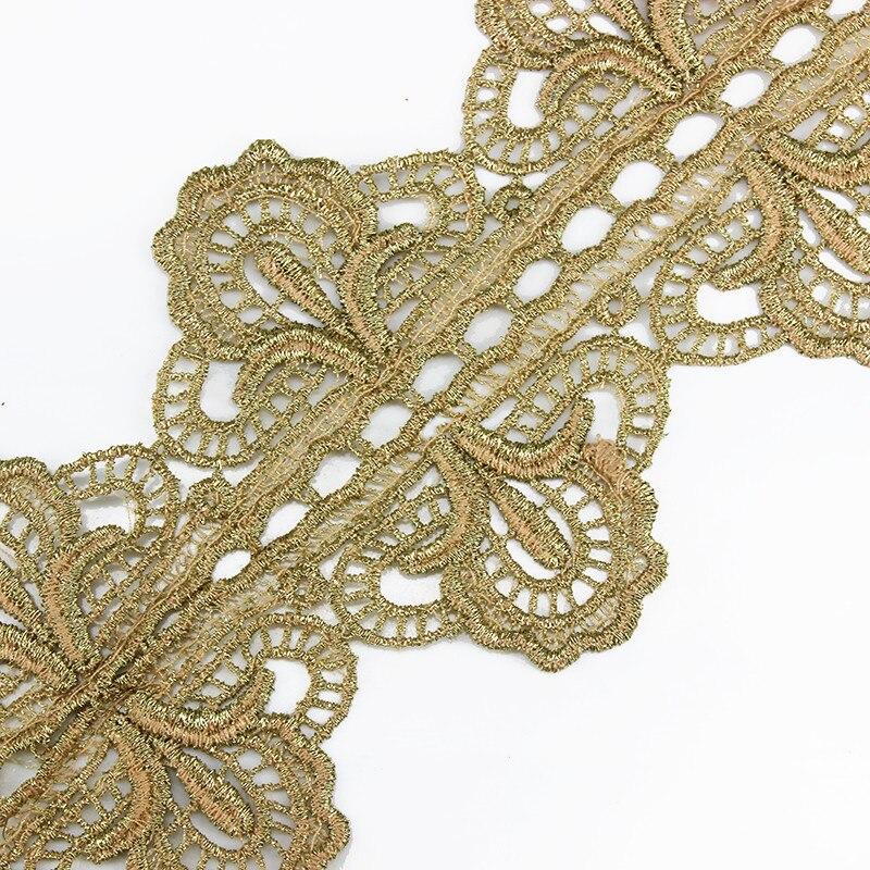 10 yarda vintage oro metálico bordado motivo Encaje Venecia TRIM ...