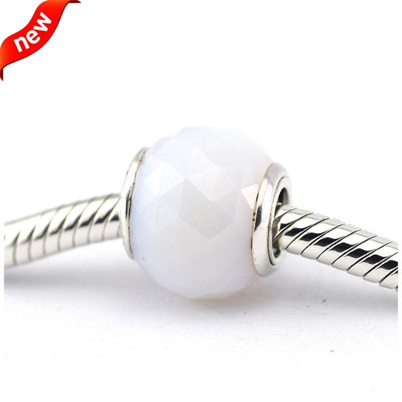 DIY Convient pour Pandora Charms Bracelets Géométrique Facettes Perles avec Opalescent Blanc Cristal 100% 925 Sterling Argent Bateau Libre