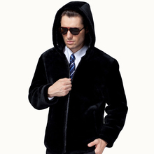 2016 Men's Luxury Fur Coat Fashion 100% Merino Sheepskin Jackets Wool Real Natural Fur Hooded and Collar Genuine Leather Outwear