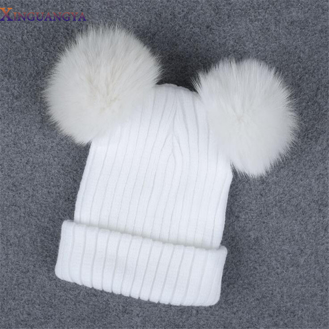 2017 New Hot Women Hats Fur Pom Poms Winter Beanies Fur White Hat Women Knitted Hat Balaclava Fur hat Knitted Thick Female Cap