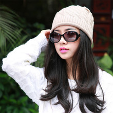Spring Autumn Watch Cap Woman Wool Knit Beanie Cap Braided Hat skull hats for women A-4