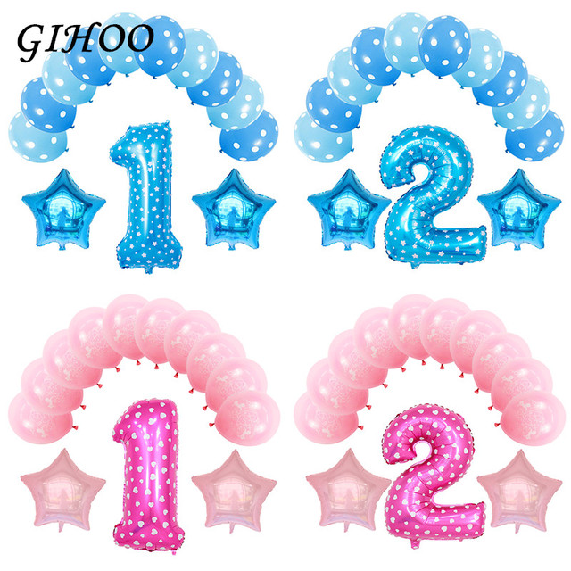 13pcs Pink Blue Number 1 2 3 Foil Air Balloons 1st 2nd Balloon Birthday Party Decorations Baby Shower Boy Girl Supplies Kid Toys