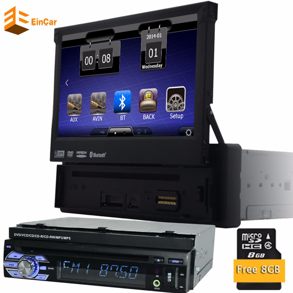 free 8g gps card 7 universal 1 din multimedia radio dvd. Black Bedroom Furniture Sets. Home Design Ideas
