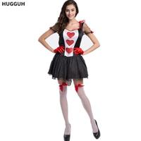 Hugguh бренд Хэллоуин костюм покер Queen сердец Косплэй костюм Белоснежка платье принцессы для девочек короткий рукав платье h157323