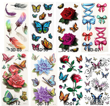 8pcs Sex Products Temporary Tattoos For Man Woman Waterproof Stickers Metallic Makeup 3D Bowknot Flower Tattoos Flash Body Art