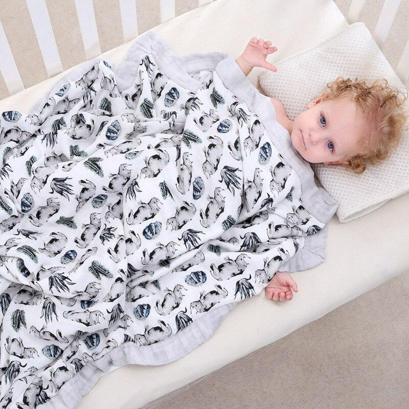 Six Layer Rhinoceros 100% Bamboo Fiber Blanket For Newborn Baby Swaddling Super Comfy Bedding Blankets Swaddle Wrap Babies