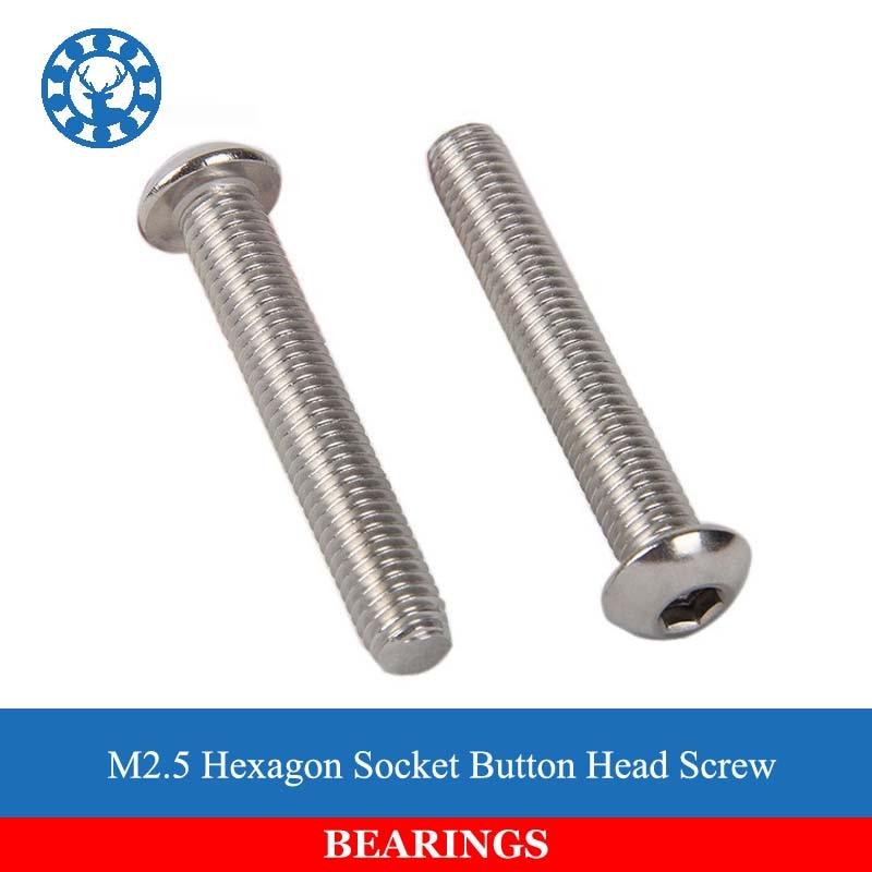 50Pcs M2.5 ISO7380 GB70.2 304 Stainless Steel A2 Round Head Screws Mushroom Hexagon Socket Button Head Screw 50pcs iso7380 m2 m2 5 m3 a2 stainless steel hex socket button head screw screws