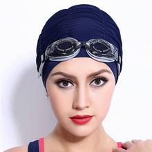 Swimming Caps Long Hair Swim Cap Pleated Cloth Fabric Bathing Hats Lycra Beanie Hat for Adult Men Women