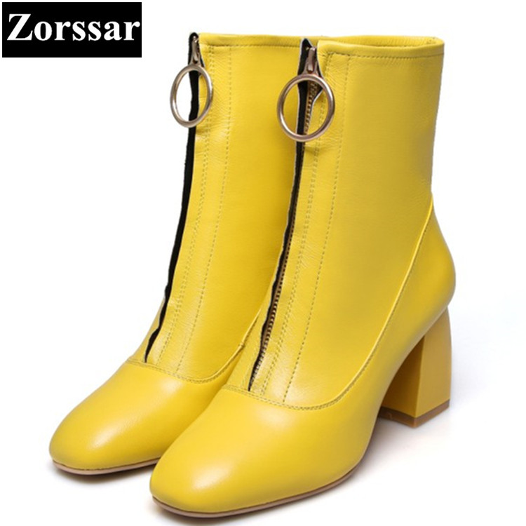 {Zorssar} Fashion Women Boots Genuine leather Square Toe High Heels ankle boots Short Plush Martin Boots winter women shoes 2018 new vintage mid calf women boots square thick high heels pointed toe martin boots genuine leather winter shoes for women