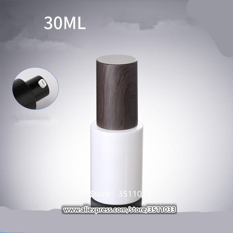 12PCS 30ml Empty Pearl White Glass Lotion Pump Bottle Glass Cosmetic Foundation Container Dark Wood Grained