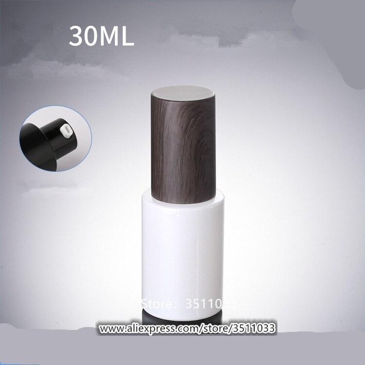 12 PCS 30 ml Pearl สีขาวโลชั่นปั๊มขวดแก้วเครื่องสำอางค์คอนเทนเนอร์ Dark Wood Grained ออกแบบพลาสติกฝาปิด-ใน ขวดรีฟิล จาก ความงามและสุขภาพ บน   1