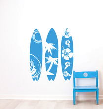 Surfboard Wall Sticker Sea Sport New Design Vinyl Removable Art Waves Beach Three Style Decal W435